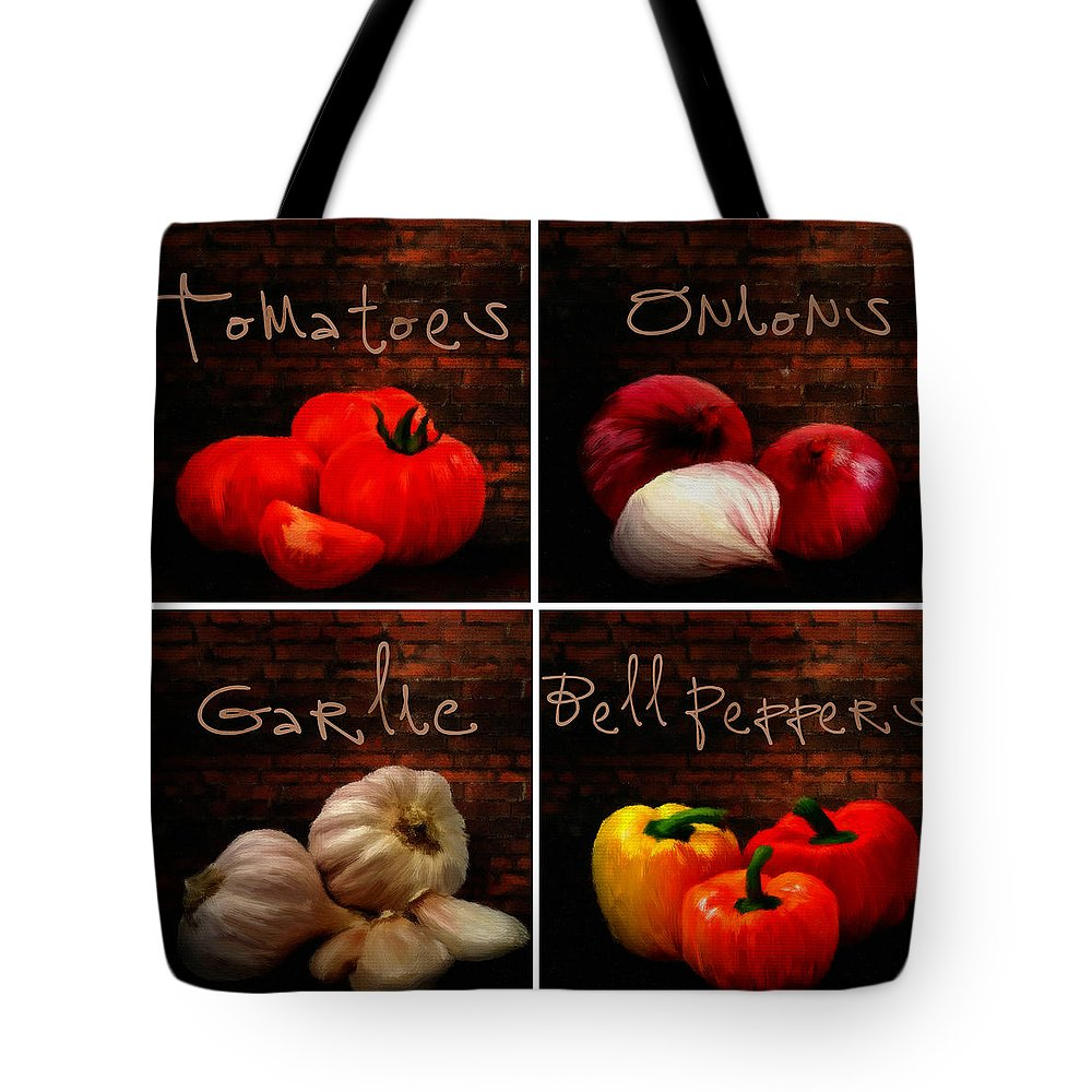 Onion Tote Bag featuring the digital art Kitchen Ingredients Collage II by Lourry Legarde