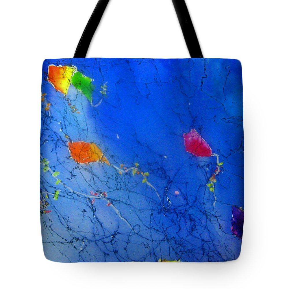 Sky Tote Bag featuring the painting Kite Sky by Anne Duke