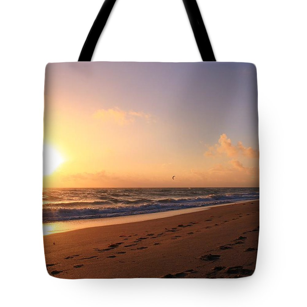 Jupiter Tote Bag featuring the photograph Kite Surfing by Catie Canetti