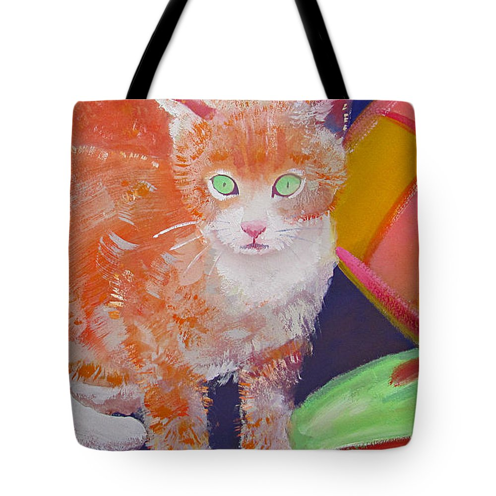 Kittens Tote Bag featuring the painting kittens With A Ball of Wool by Charles Stuart