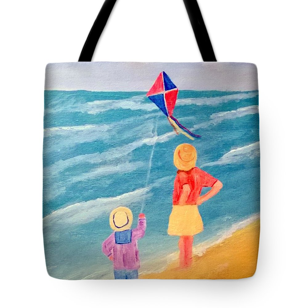Sea Tote Bag featuring the painting Kity Fly by Aat Kuijpers