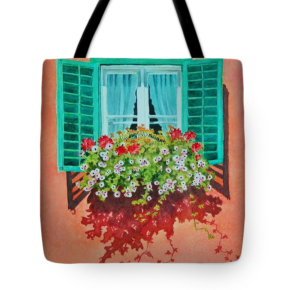 Window Box Tote Bag featuring the painting Kitzbuhel Window by Mary Ellen Mueller Legault