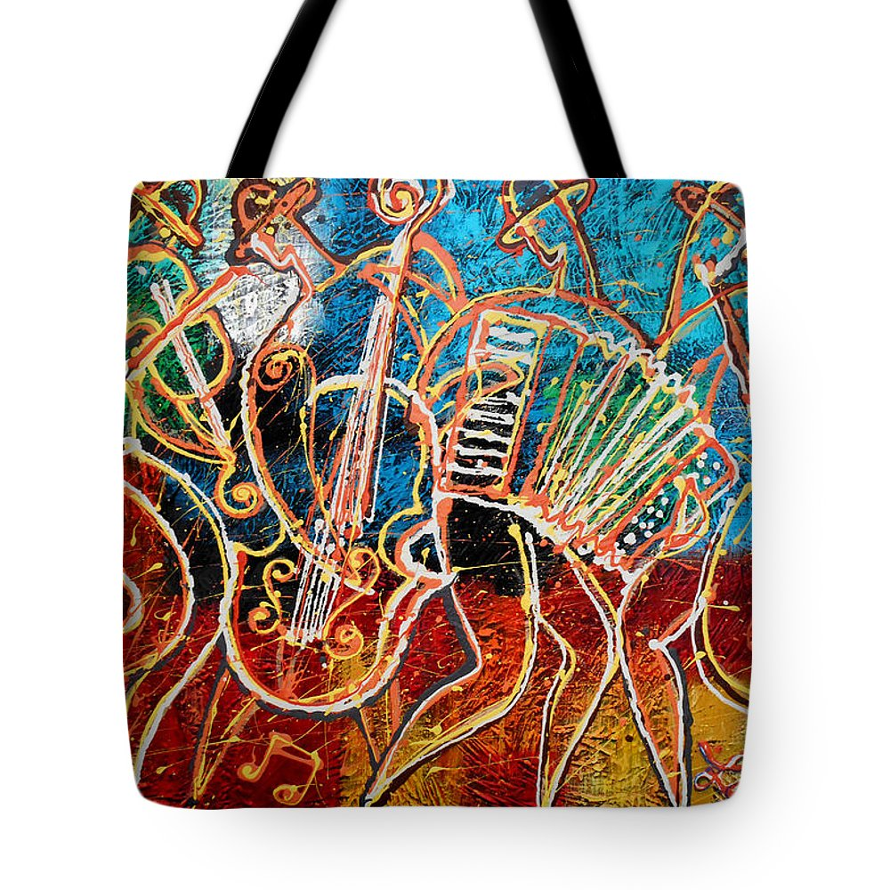 Jazz Tote Bag featuring the painting Klezmer Music Band by Leon Zernitsky