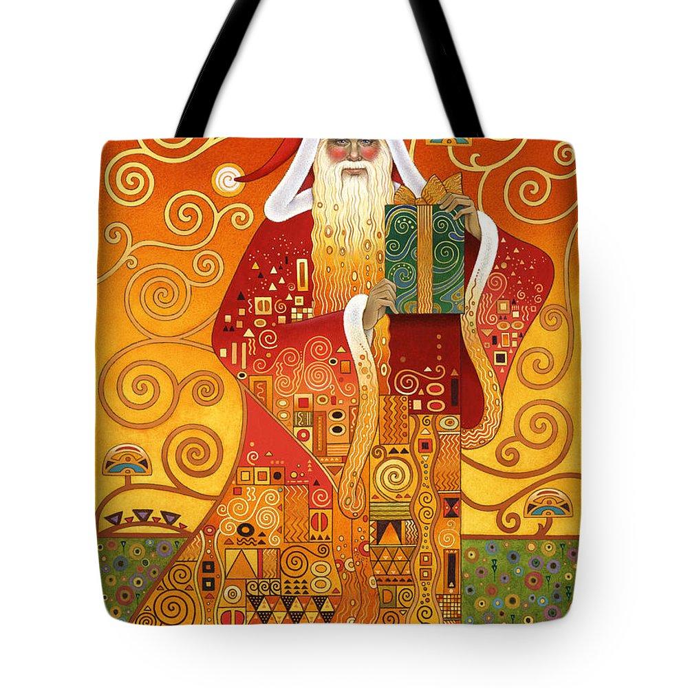 Carol Lawson Tote Bag featuring the painting Klimt Santa by Carol Lawson