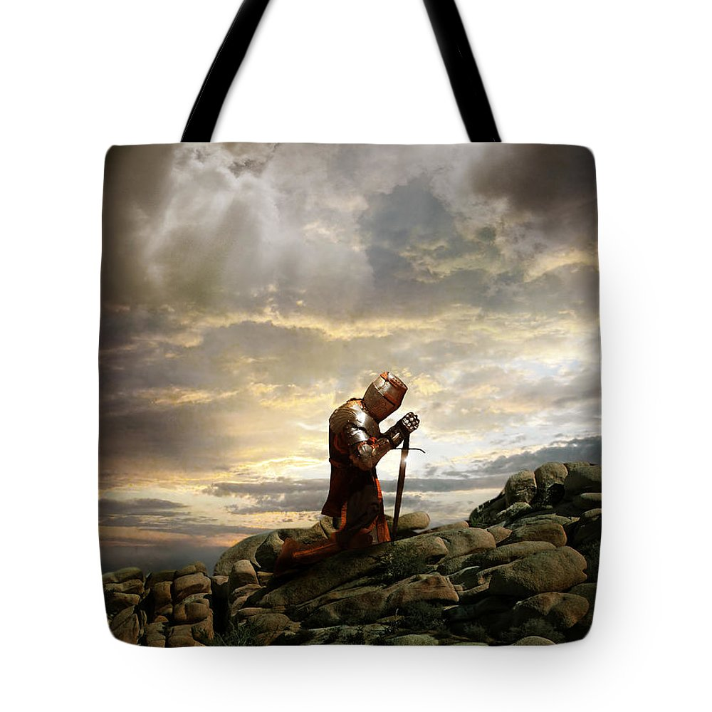 Knight Tote Bag featuring the photograph Kneeling Knight by Jill Battaglia