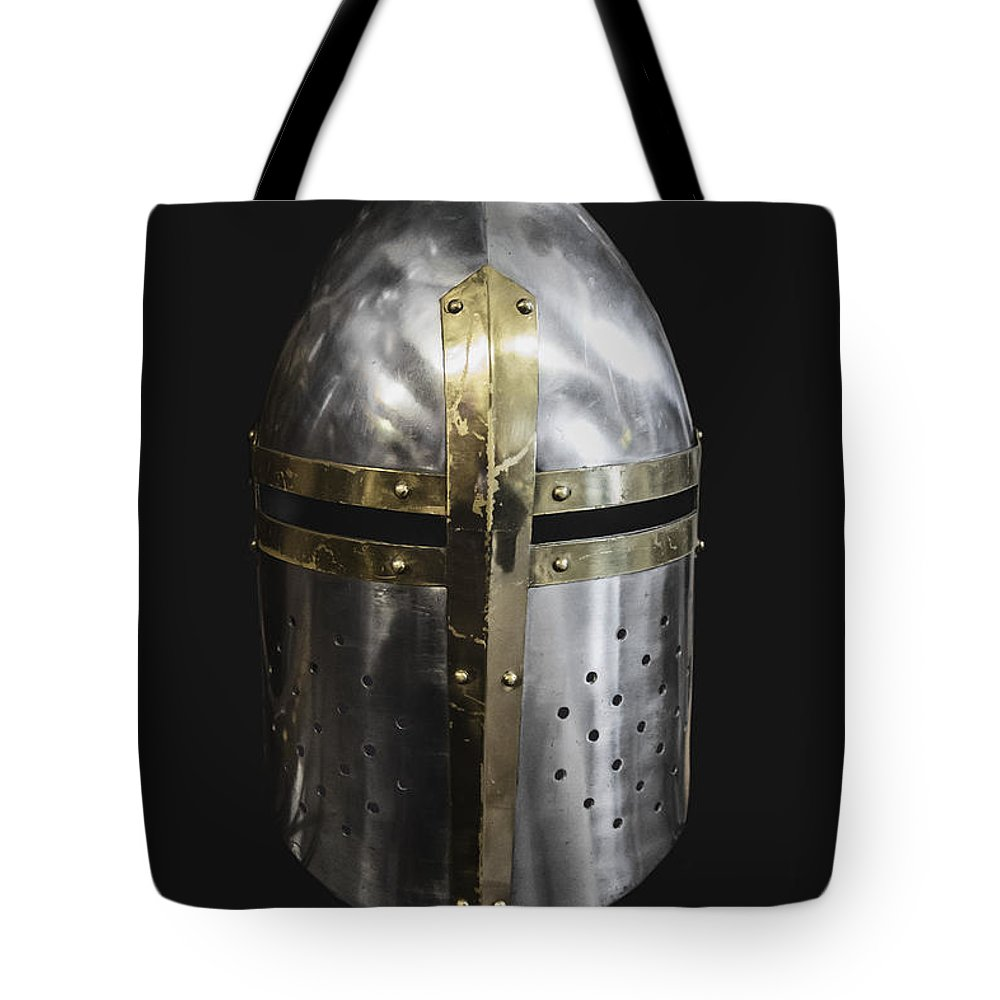 Helmet Tote Bag featuring the photograph Knight In Shining Armor by Margie Hurwich