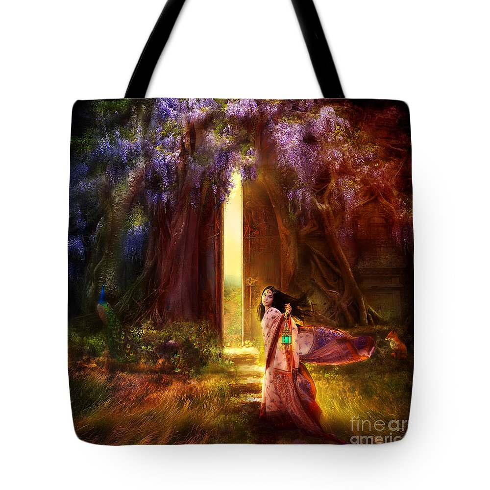 Fantasy Tote Bag featuring the digital art Knock At The Door by Aimee Stewart