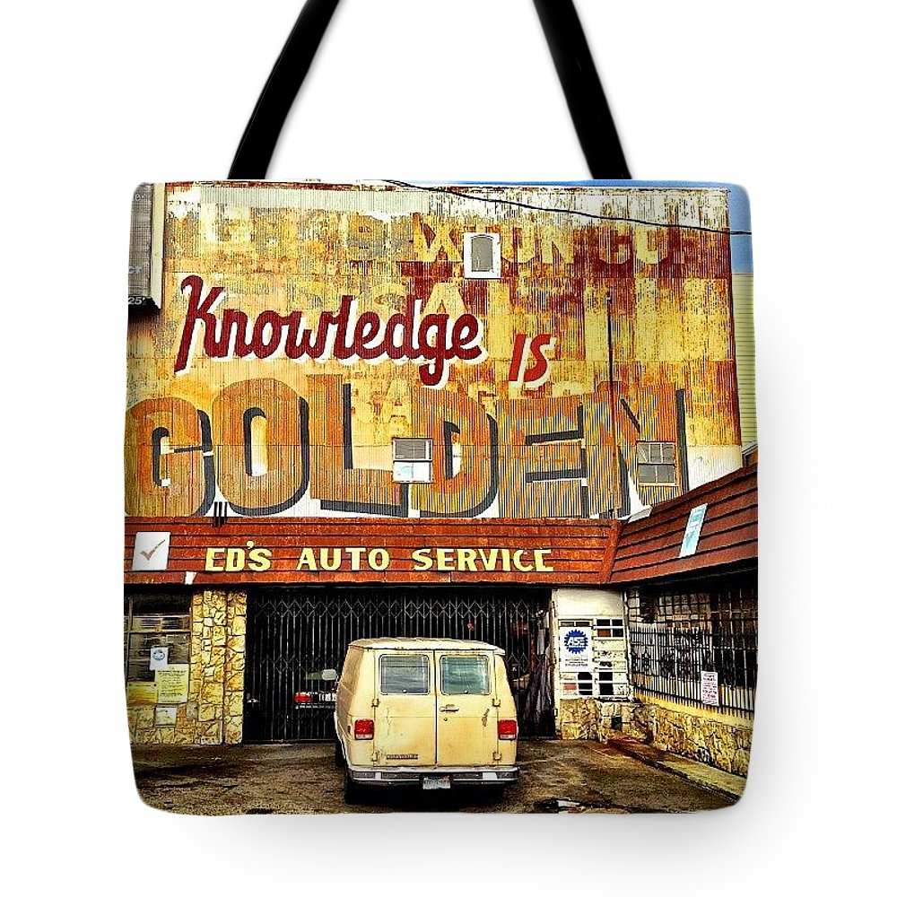 Yellowmonday Tote Bag featuring the photograph Knowledge Is Golden by Julie Gebhardt