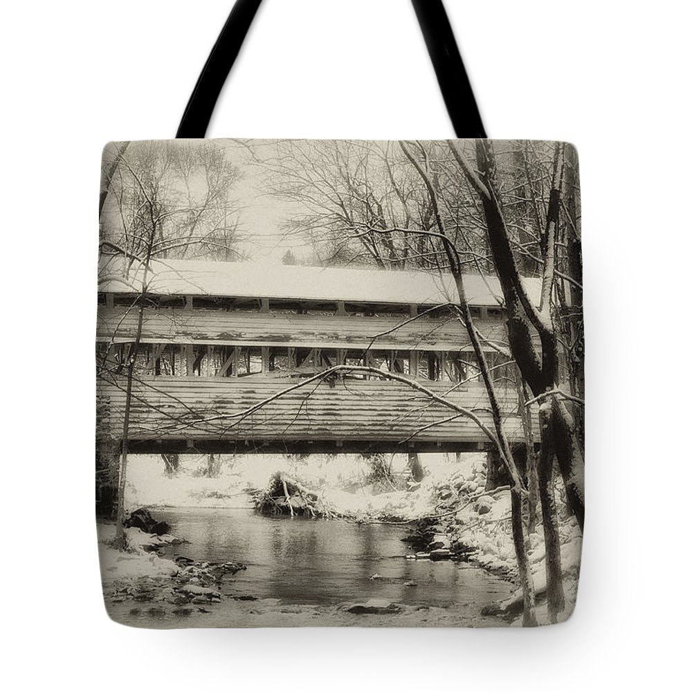 Knox Tote Bag featuring the photograph Knox Valley Forge Covered Bridge by Bill Cannon