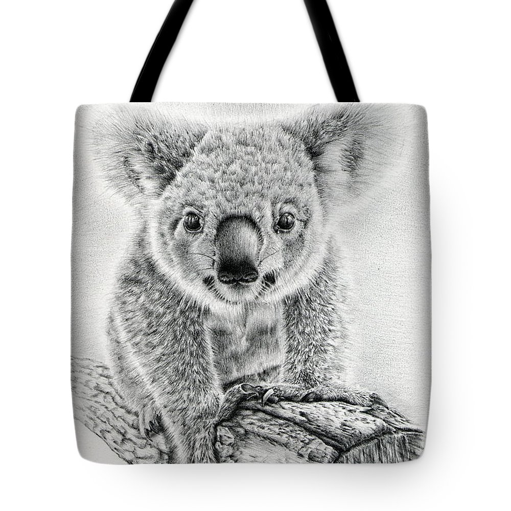 Koala Tote Bag featuring the drawing Koala Oxley Twinkles by Remrov