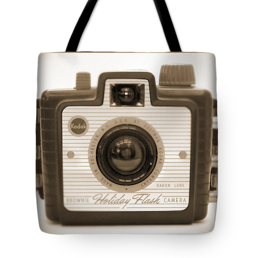 Vintage Kodak Tote Bag featuring the photograph Kodak Brownie Holiday Flash by Mike McGlothlen