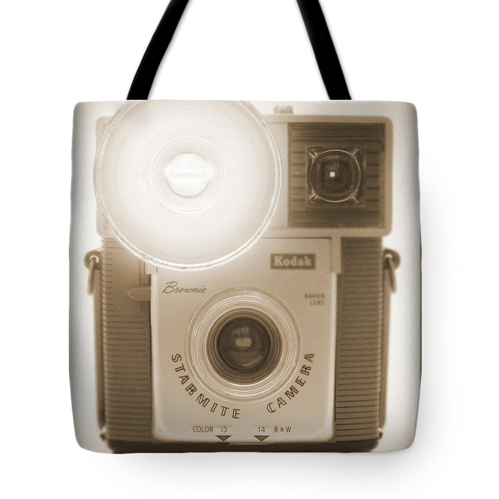 Vintage Kodak Brownie Tote Bag featuring the photograph Kodak Brownie Starmite Camera by Mike McGlothlen