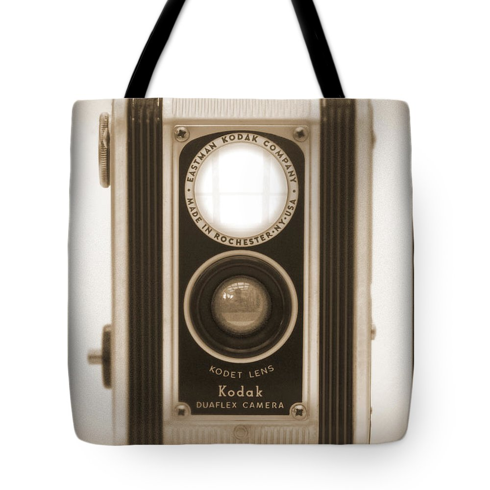 Twin Lens Tote Bag featuring the photograph Kodak Duaflex Camera by Mike McGlothlen