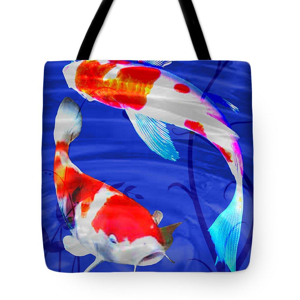 Koi Tote Bag featuring the painting Kohaku Koi In Deep Blue Pool by Elaine Plesser