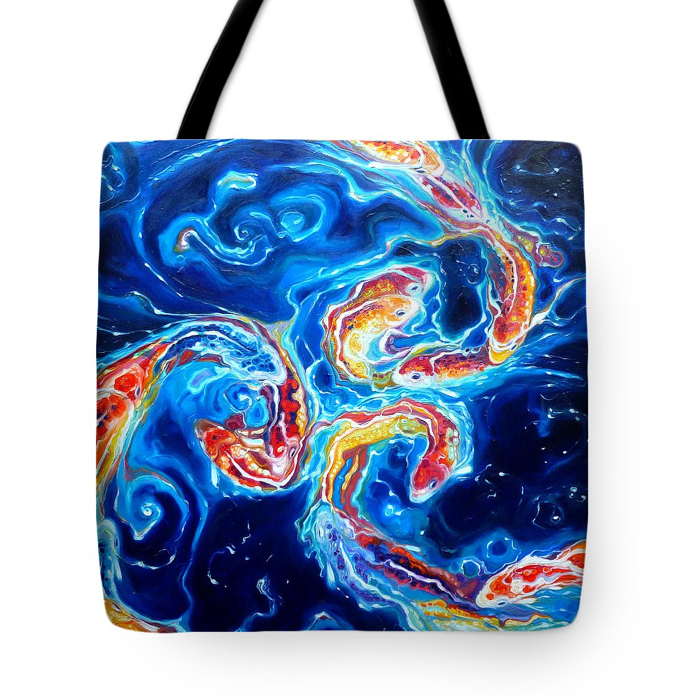 Koi Fish Tote Bag featuring the painting Koi Ballet by Gill Bustamante