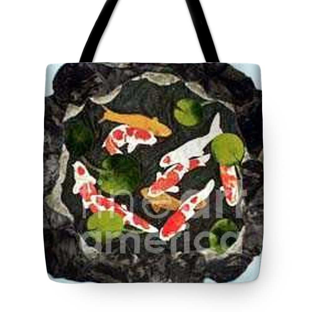 Fiber Tote Bag featuring the tapestry - textile Koi Fest by Jenny Williams