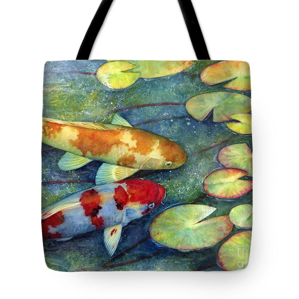 Koi Tote Bag featuring the painting Koi Garden by Hailey E Herrera