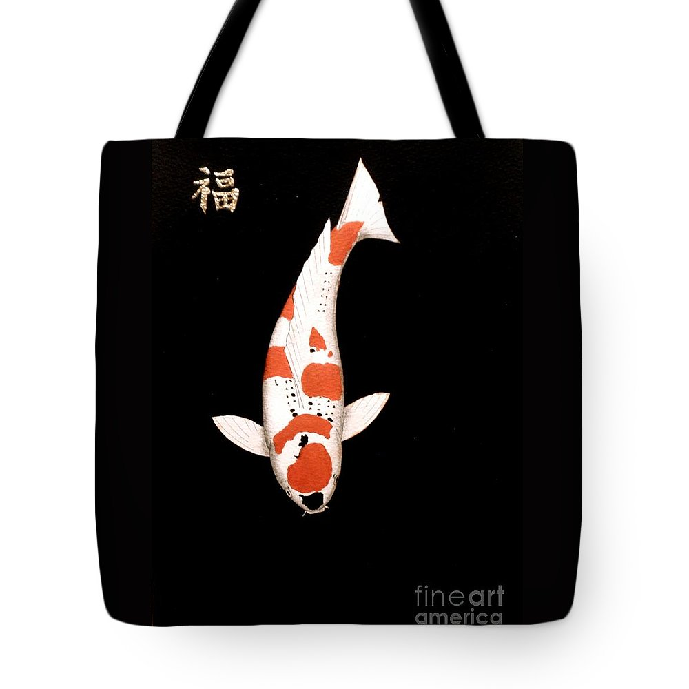 A Painting Of A Aoki Goshiki With The Japnese Kanji For Prosperity In Gold Leaf This Is A Painting For The Ambitious. Universe.mars.moon.uranus.venus.jupiter.jupiter.stars Tote Bag featuring the painting Koi Goshiki Prosperity Painting by Gordon Lavender