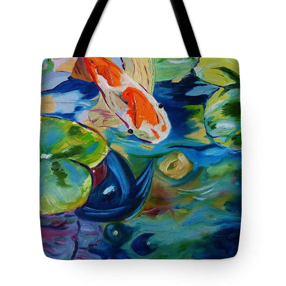 Pond Tote Bag featuring the painting Koi by Nancy Milano