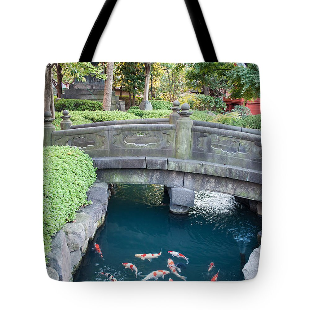 Asakusa Tote Bag featuring the photograph Koi Pond In Senso-ji Temple Grounds by Jill Mitchell