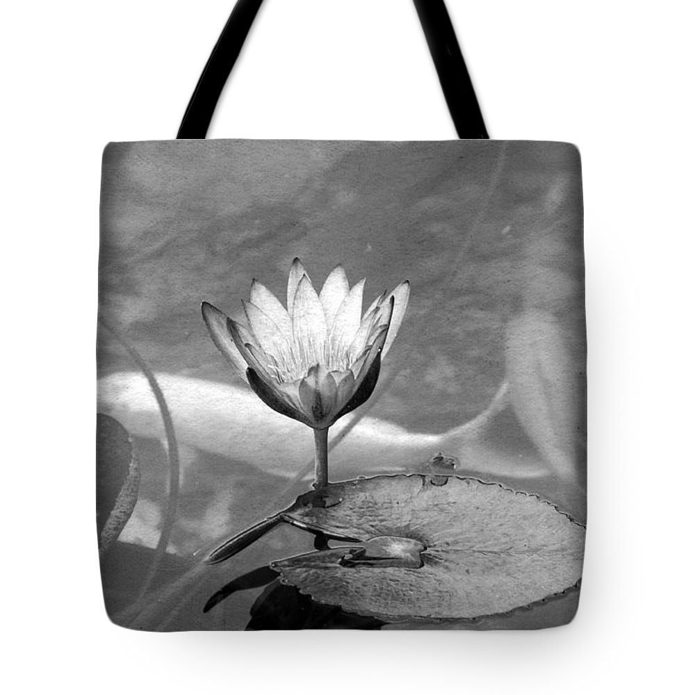 Horizontal Tote Bag featuring the photograph Koi Pond With Lily Pad And Flower Black And White by Sally Rockefeller