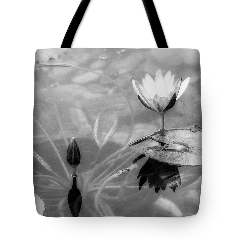 Horizontal Tote Bag featuring the photograph Koi Pond With Lily Pad Flower And Bud Black And White by Sally Rockefeller