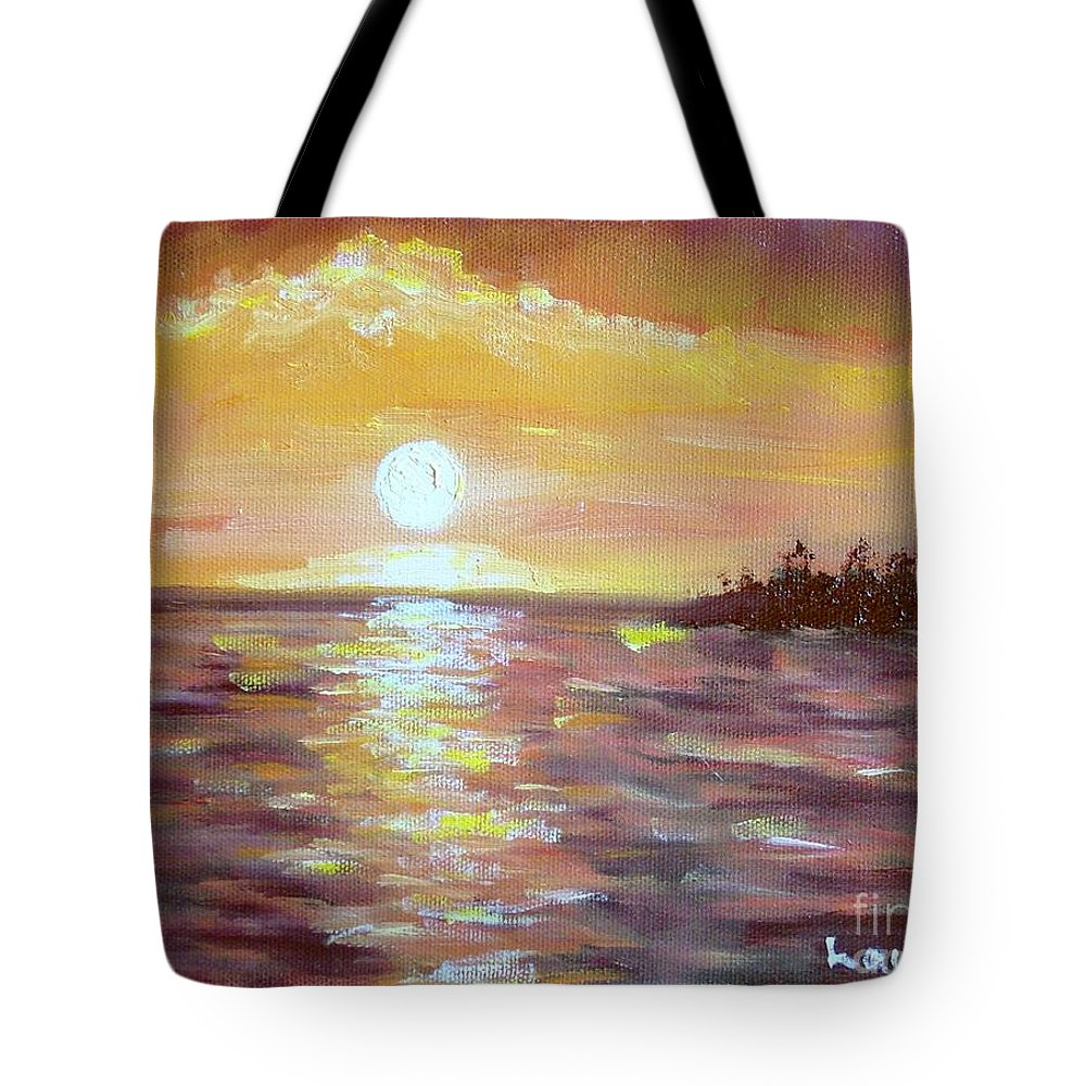 Sunset Tote Bag featuring the painting Kona Sunset by Laurie Morgan