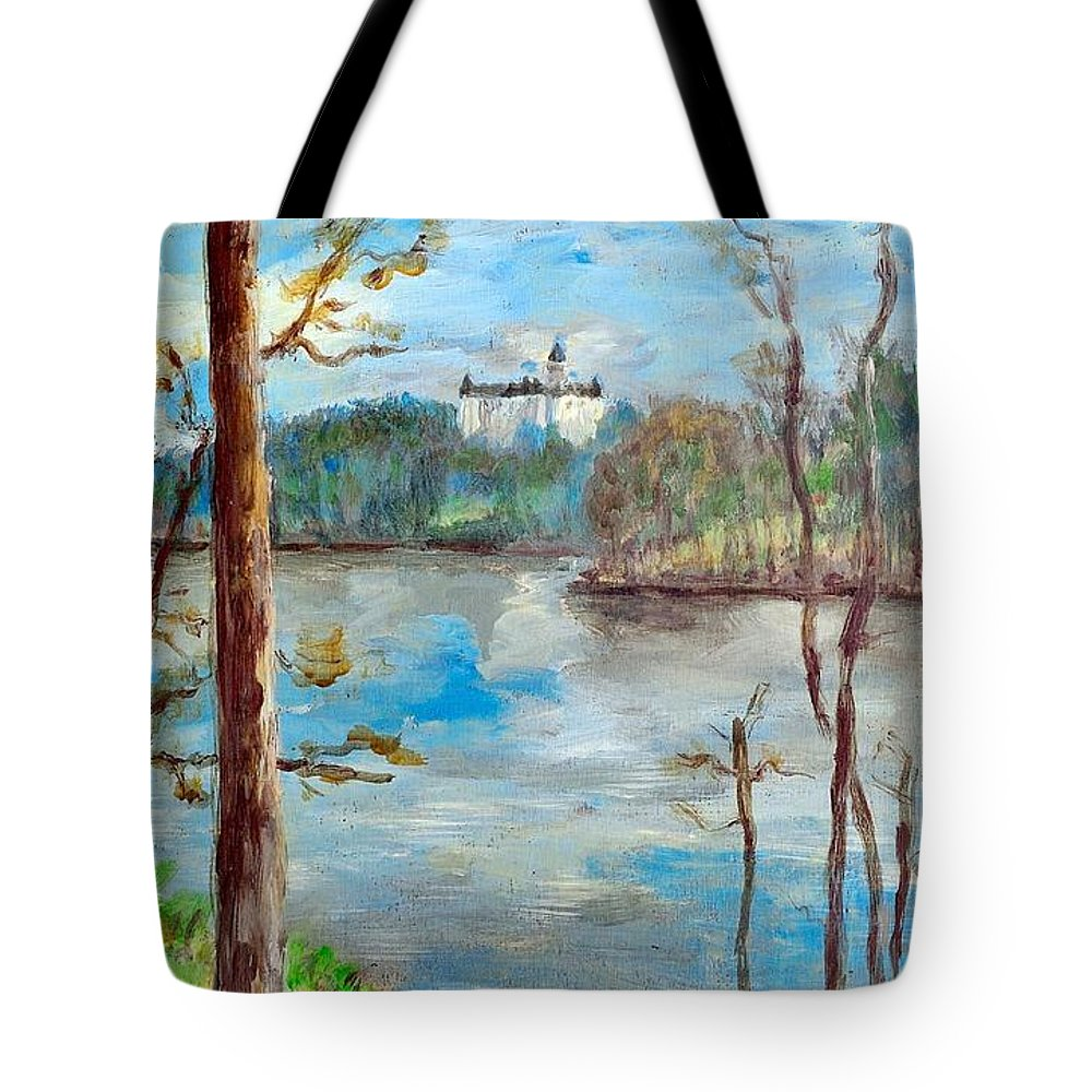 Ancient Tote Bag featuring the painting Konopiste by Martin Capek