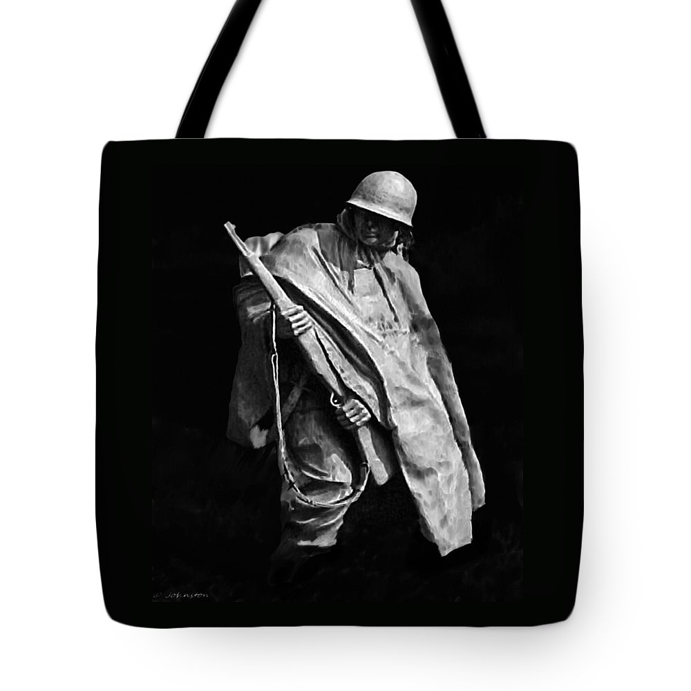 Army Tote Bag featuring the painting Korean War Veterans Memorial Rifleman by Bob and Nadine Johnston