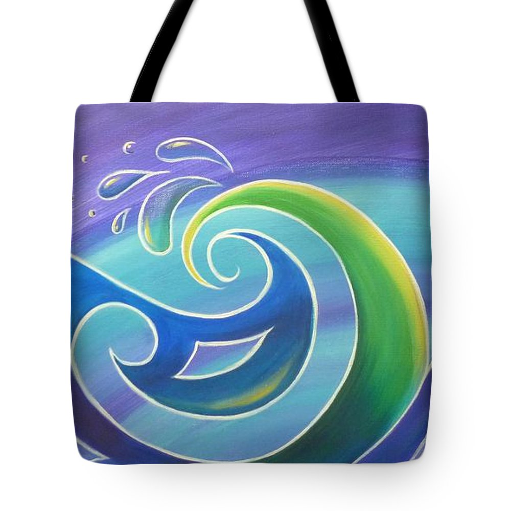 Surf Tote Bag featuring the painting Koru Surf by Reina Cottier