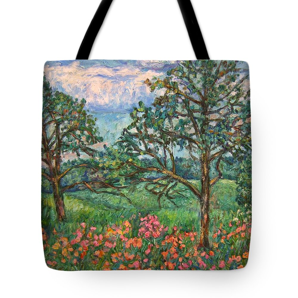 Landscape Tote Bag featuring the painting Kraft Avenue In Blacksburg by Kendall Kessler