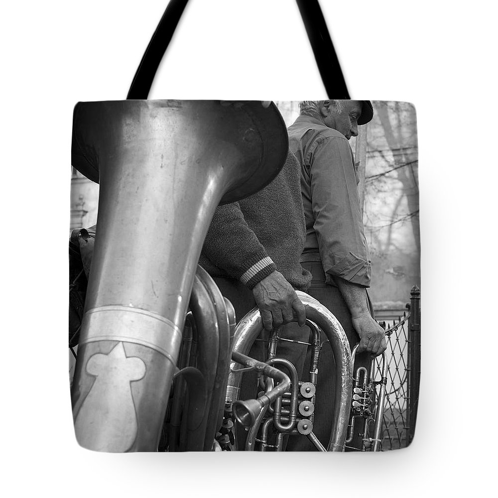 Busker Tote Bag featuring the photograph Krakow Brass Buskers by Robert Lacy