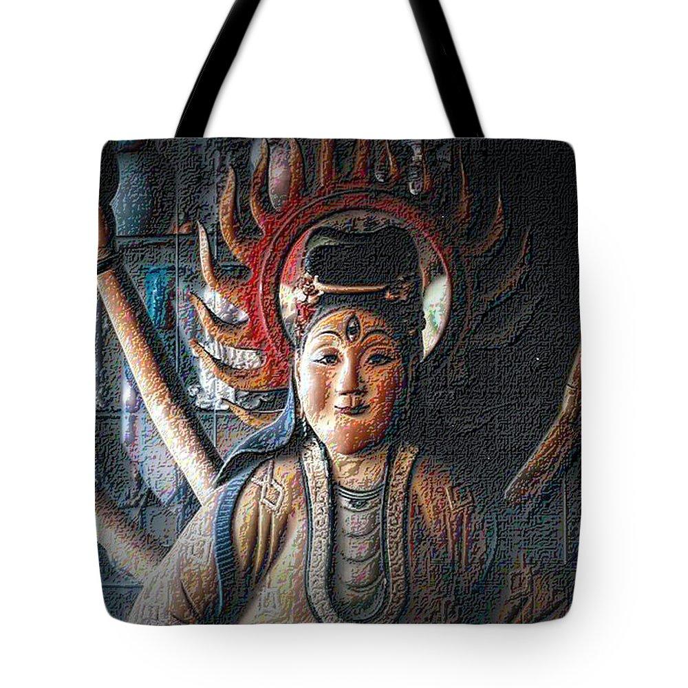 Kuan Yin Tote Bag featuring the photograph Kuan Yin by Nadalyn Larsen