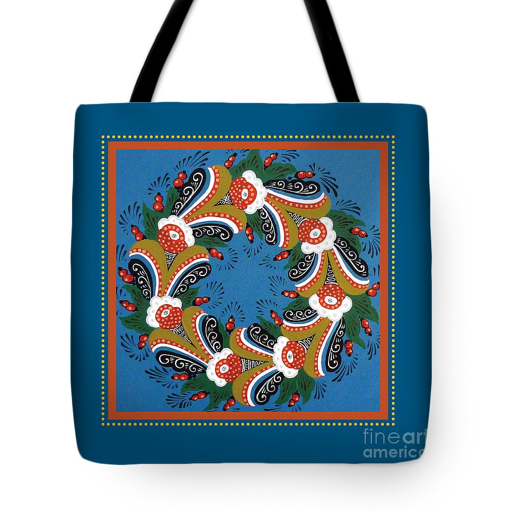 Dala Tote Bag featuring the painting Kurbits Wreath Blue by Leif Sodergren