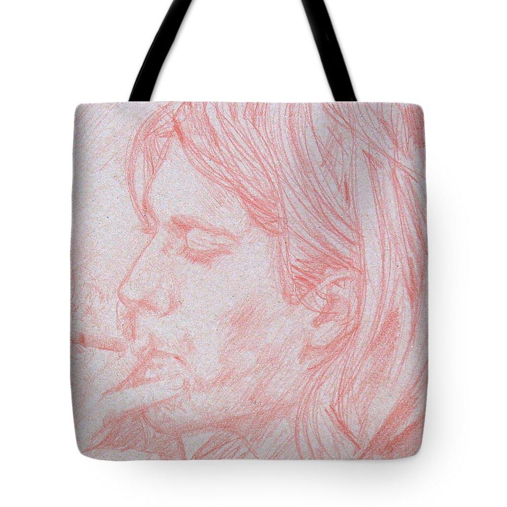 Kurt Tote Bag featuring the drawing Kurt Cobain Smoking-pencil Portrait by Fabrizio Cassetta