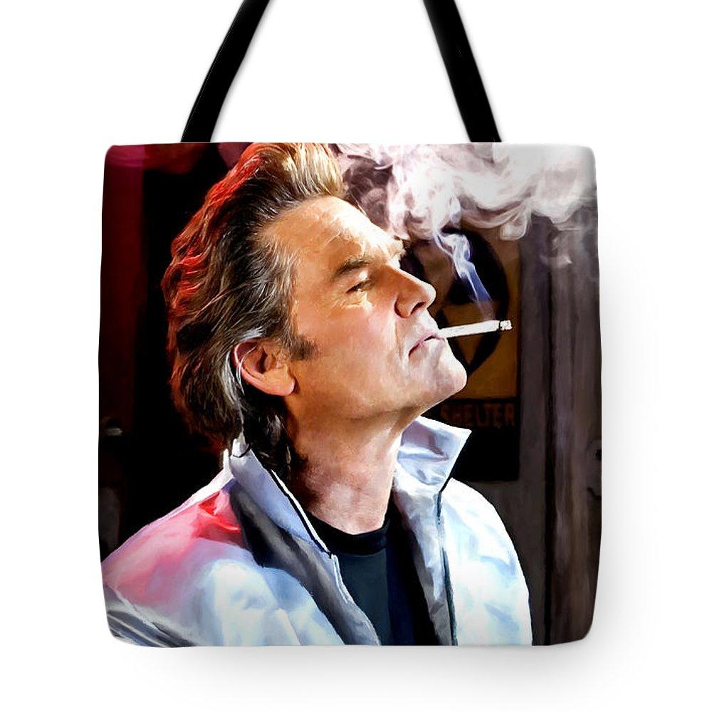 Death Proof Tote Bag featuring the digital art Kurt Russell @ Death Proof by Gabriel T Toro
