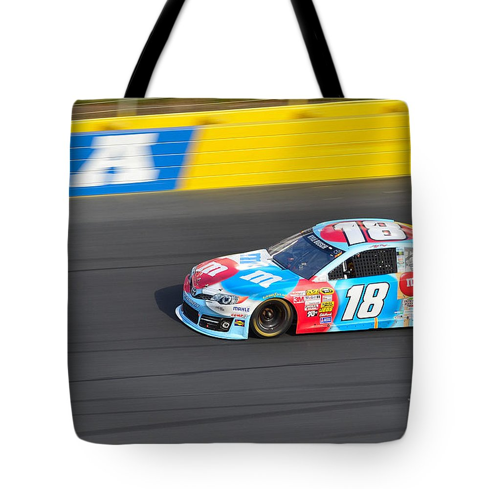 Nascar Tote Bag featuring the photograph Kyle Busch's 18 by Mark Spearman