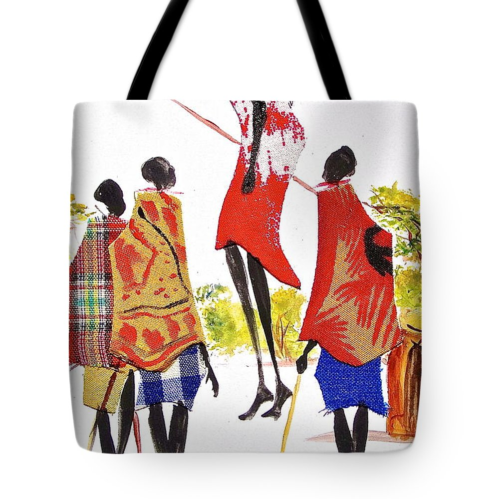 African Paintings Tote Bag featuring the painting L 104 by Albert Lizah