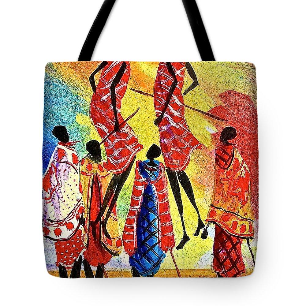 Albert Lizah Tote Bag featuring the painting L 129 by Albert Lizah