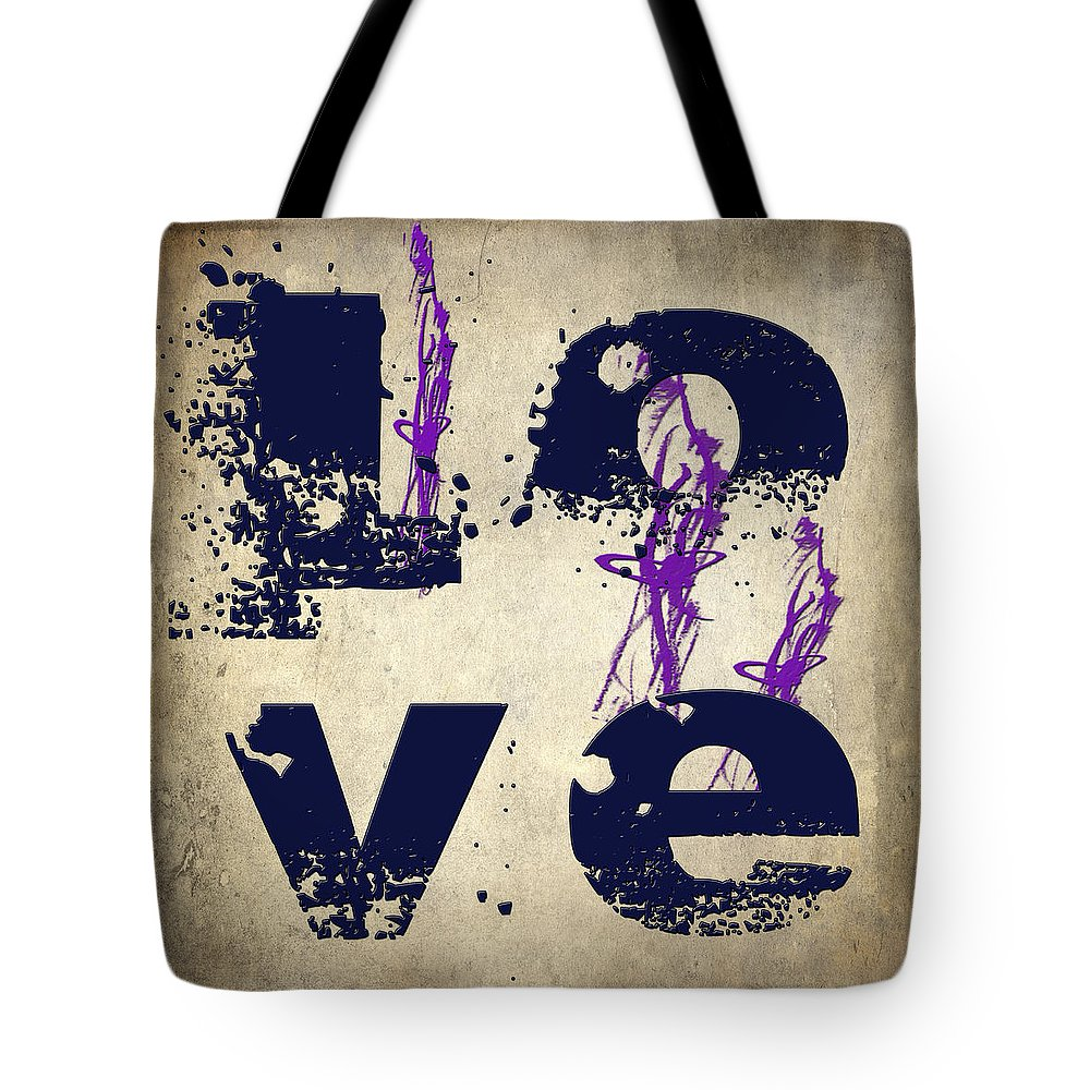 Digital Art Tote Bag featuring the digital art L O V E Crumbling by Paulette B Wright
