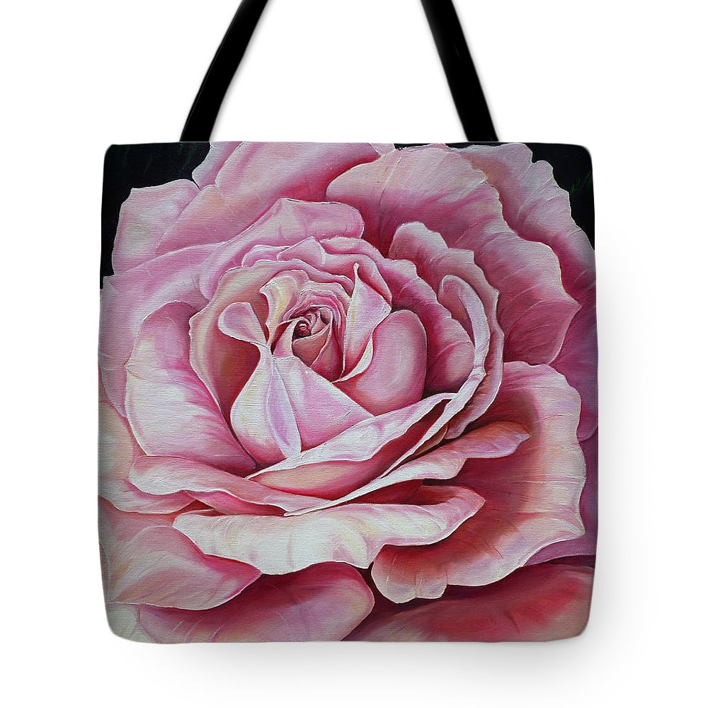 Rose Painting Pink Rose Painting  Floral Painting Flower Painting Botanical Painting Greeting Card Painting Tote Bag featuring the painting La Bella Rosa by Karin Dawn Kelshall- Best