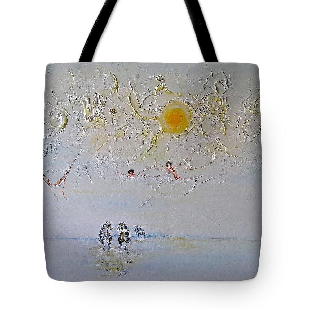 Caballos Tote Bag featuring the painting La Carrera by David Alvarado