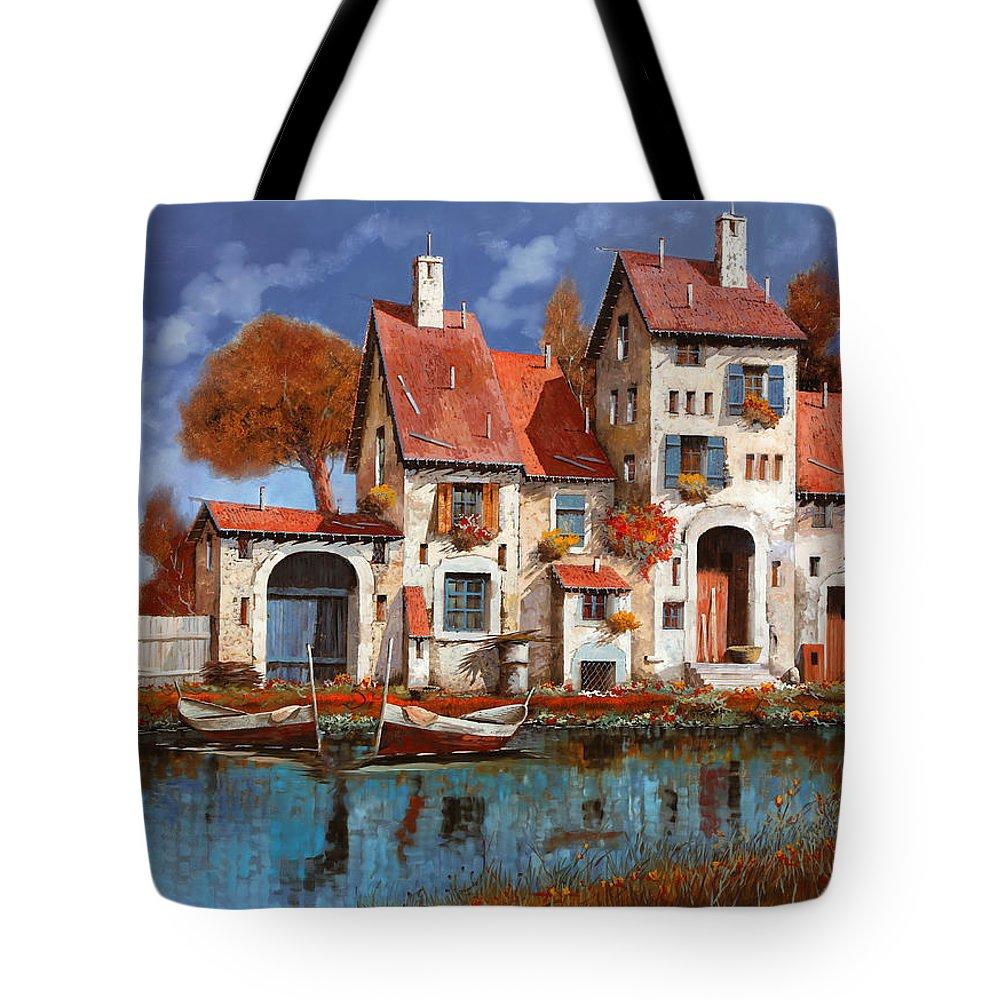 Little Village Tote Bag featuring the painting La Cascina Sul Lago by Guido Borelli