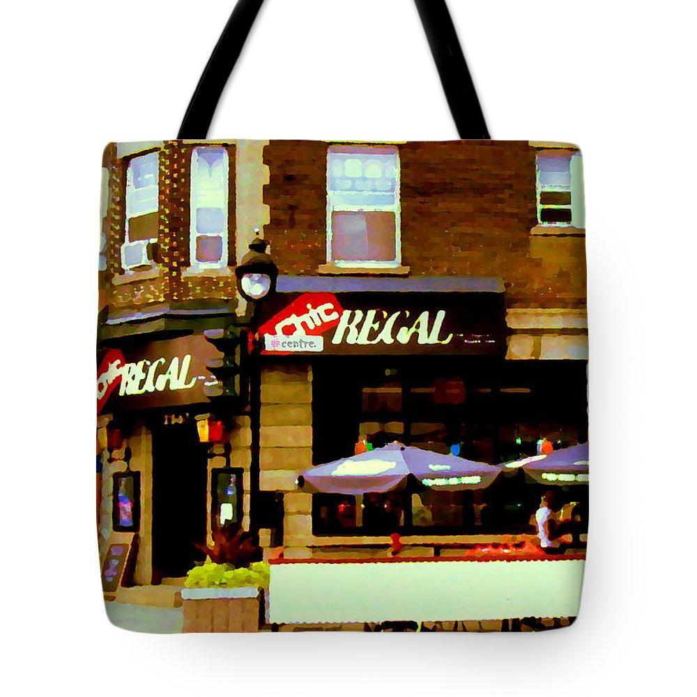 La Chic Regal Pub Tote Bag featuring the painting La Chic Regal Taverne Au Coin Rue Centre Et Charlevoix Pointe St Charles Scene De Rue Carole Spandau by Carole Spandau