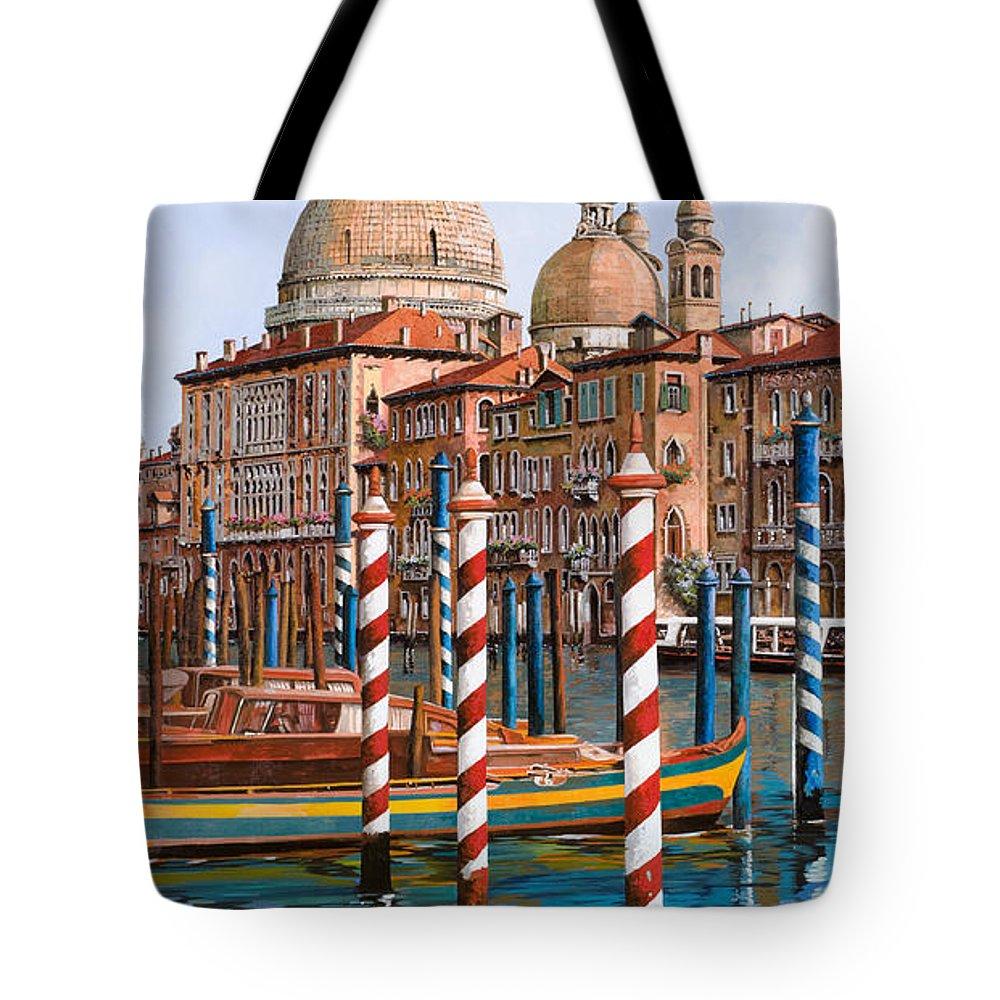Venice Tote Bag featuring the painting La Chiesa Della Salute Sul Canal Grande by Guido Borelli