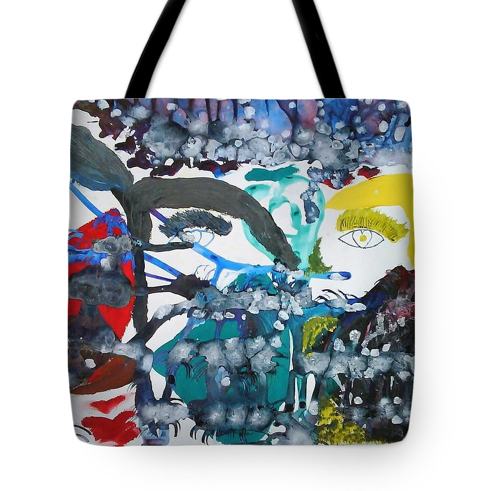 Abstract Impressionism Tote Bag featuring the painting La Famille by Fatiha Boudar