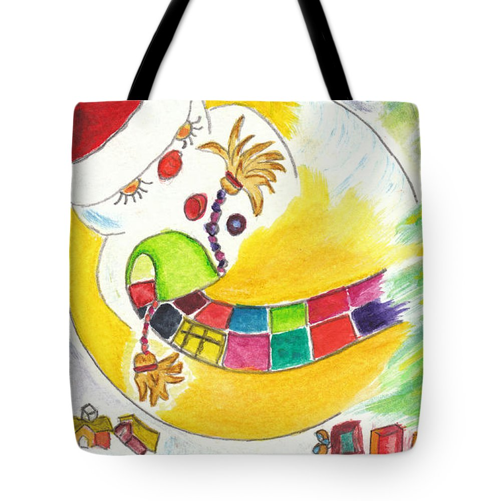 Illustration Tote Bag featuring the painting La Glissade / The Sliding by Dominique Fortier