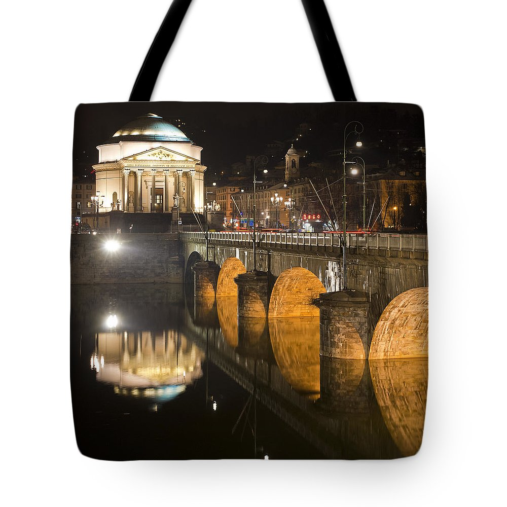 Italia Tote Bag featuring the photograph La Gran Madre E Ponte Umberto I by Sonny Marcyan