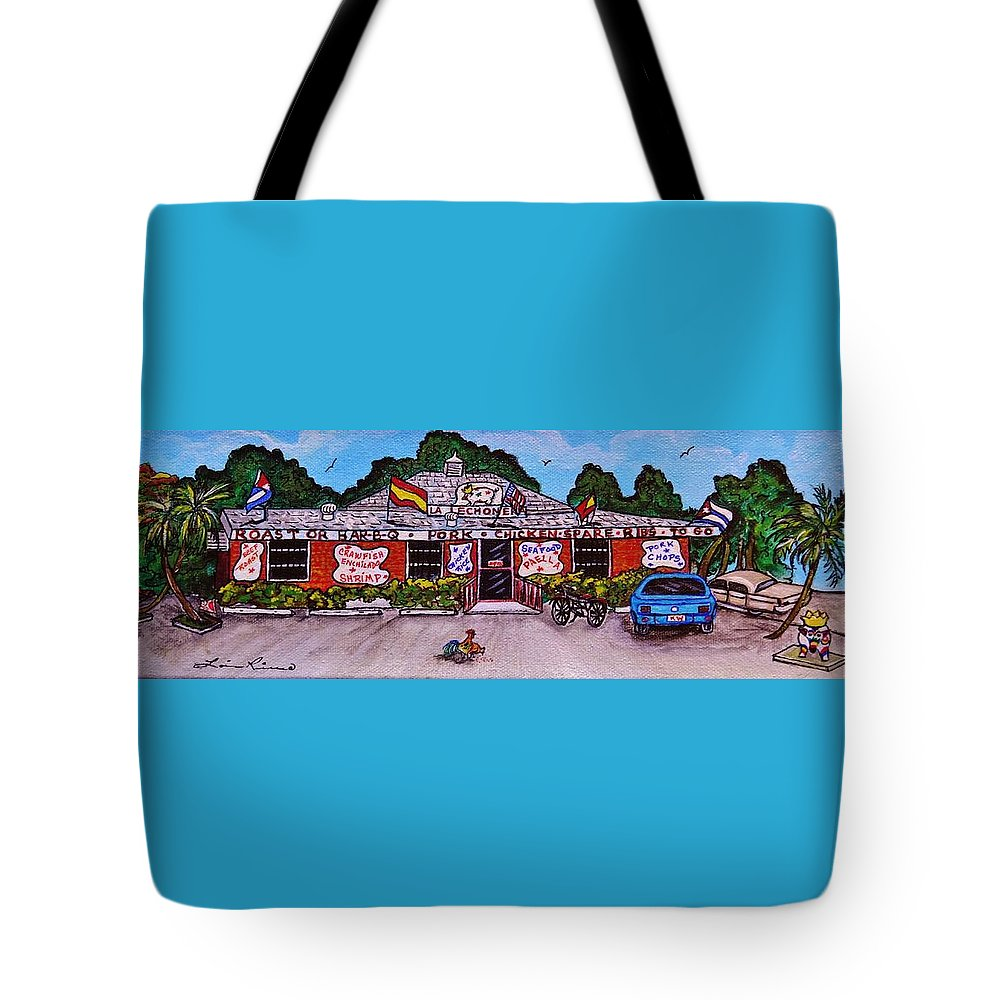 Restaurant Tote Bag featuring the painting La Lechonera Restaurant Key West Florida by Lois  Rivera