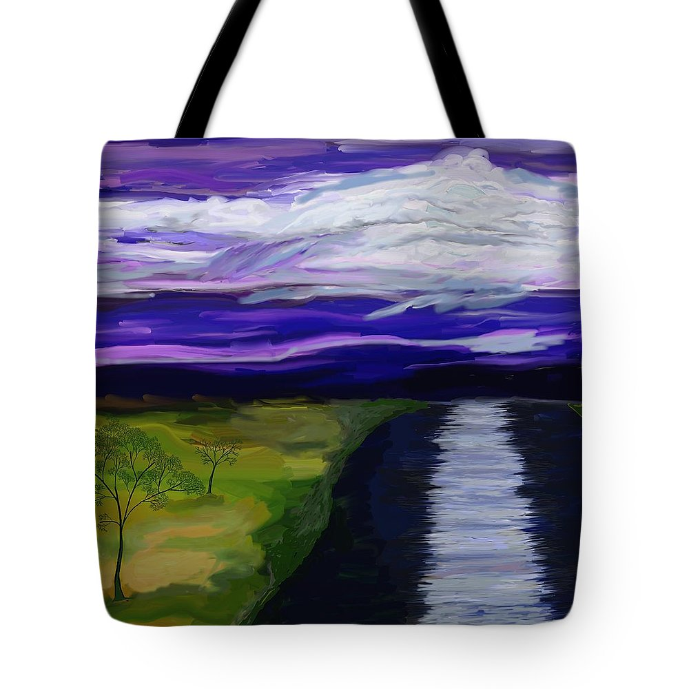 Moon Tote Bag featuring the painting La Luna 7 by Jeanne Fischer